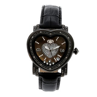 Luxurman Women's 1/4 ct Diamond Heart Watch Leather Strap Set