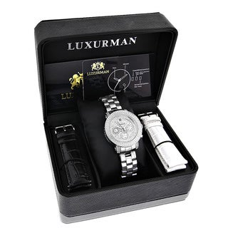 Luxurman Ladies' 1/3ct TDW White Diamond Watch Metal Band plus Extra Leather Straps