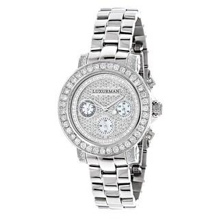 Luxurman 3ct TDW White Diamond Watch Metal Band plus Extra Leather Straps