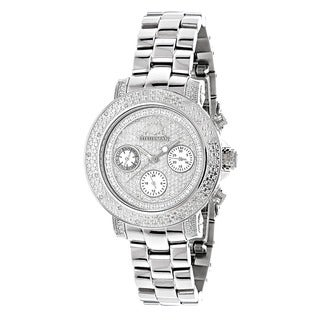 Luxurman Iced Out Women's 1/3ct Diamond Watch Metal Band plus Extra Leather Straps