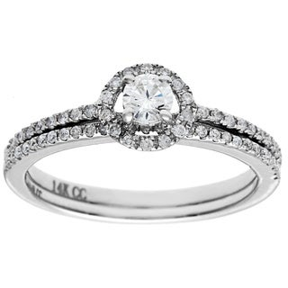 14k White Gold 1/2ct TDW Round Prong-set Diamond Bridal Set (G-H, I1)