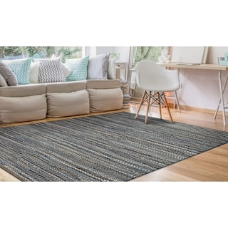 Hand-Loomed Green Leaves Dusk Denim Area Rug - 4' x 6'