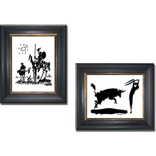 Pablo Picasso 'Don Quixote and Bullfight III' 2-piece Framed Canvas Art Set