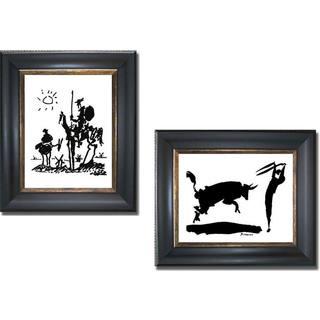 Pablo Picasso 'Don Quixote and Bullfight III' 2-piece Framed Canvas Art Set - Multi