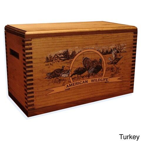 Wild Turkey Print Wooden Accessory Case