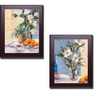 Jane Slivka 'Morning Rose I and II' 2-piece Framed Canvas Art Set