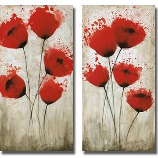 Catherine Brink 'Luminous Crimson I and II' 2-piece Canvas Art Set