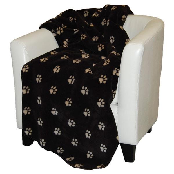 Denali Stone and Chocolate Paw Prints Throw Blanket