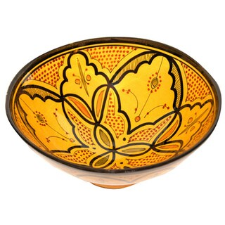 Handmade Moroccan Safi Yellow Ceramic Bowl (Morocco)
