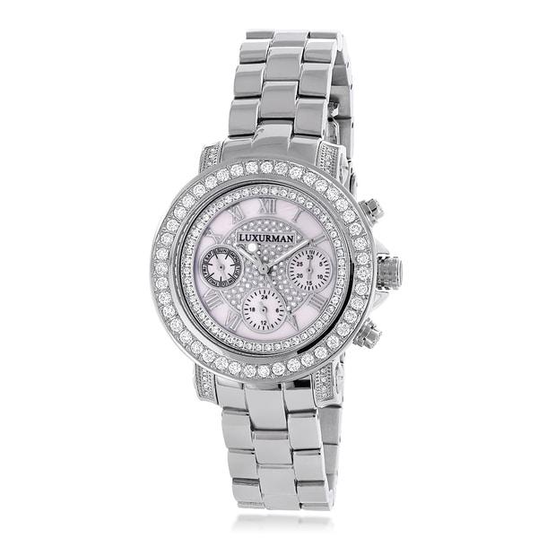 f1a405b8874 Luxurman Women  x27 s 3ct Diamond Mother of Pearl Dial Watch Metal Band plus