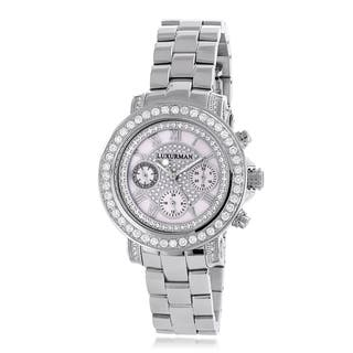 Luxurman Women's 3ct Diamond Mother of Pearl Dial Watch Metal Band plus Extra Leather Straps|https://ak1.ostkcdn.com/images/products/8542587/P15822048.jpg?impolicy=medium