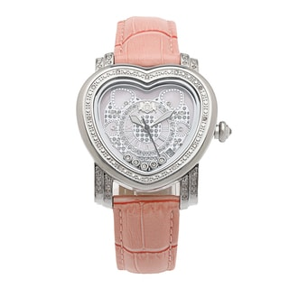 Luxurman Pink Women's 1/3ct Diamond Heart Watch with Leather Strap Set