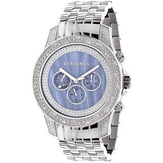 Luxurman Freeze Men's 1/2ct Diamond Blue Mother of Pearl Watch