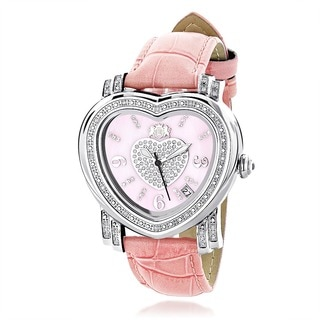 Luxurman Women's Mother of Pearl Heart Diamond Watch with Leather Strap Set