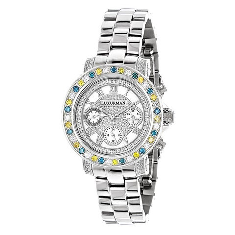 Luxurman Watches Ladies Color Diamond Watch 2.75ct