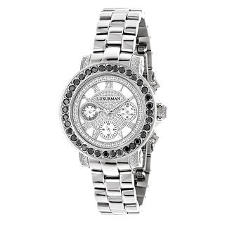 Luxurman Women's 2 1/2ct TDW Black Diamond Watch