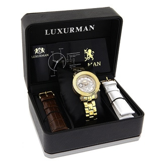 Luxurman Women's Yellow Goldplated 1/3ct White Diamond Watch