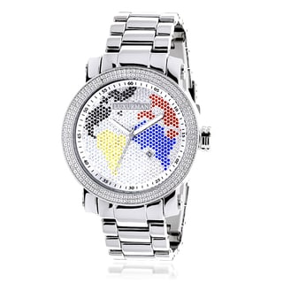 Luxurman Men's 'World Map' Stainless Steel Diamond Watch with Metal Band and Extra Leather Straps