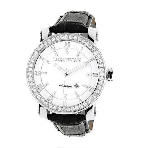 Luxurman Men's White Mother of Pearl VS 4 ct TDW Diamond Watch