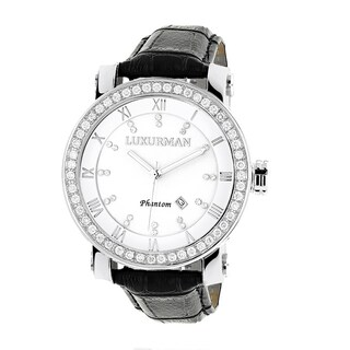 Luxurman Men's White Mother of Pearl VS 4 ct TDW Diamond Watch