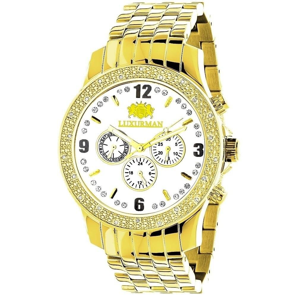fbbdaf8c2fe Details about Luxurman Men s 1 4ct Diamond Diamond Watch
