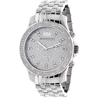 Luxurman Men's 1/4ct Stainless Steel Diamond Watch with Metal Band and Extra Leather Straps