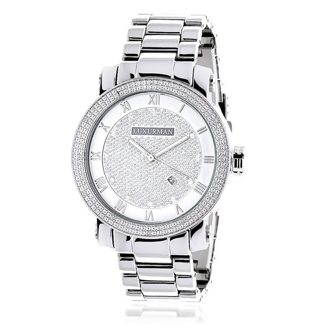 Luxurman Men's 0.12ct Diamond Watch with Metal Band and E...