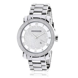 Luxurman Men's 0.12ct Diamond Watch with Metal Band and Extra Leather Straps