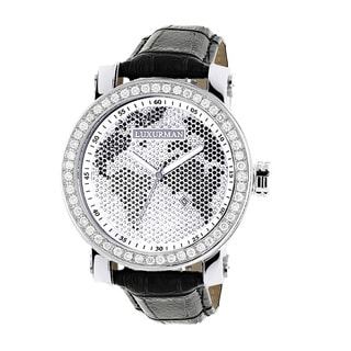 Luxurman Men's Black/ White 4 ct Diamond Watch with Leather Strap Set