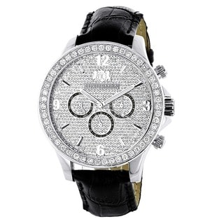 Luxurman Men's 3ct White Diamond Watch with Leather Strap Set