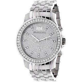 Luxurman Men's White 2.5ct Diamond Watch with Metal Band and Extra Leather Straps