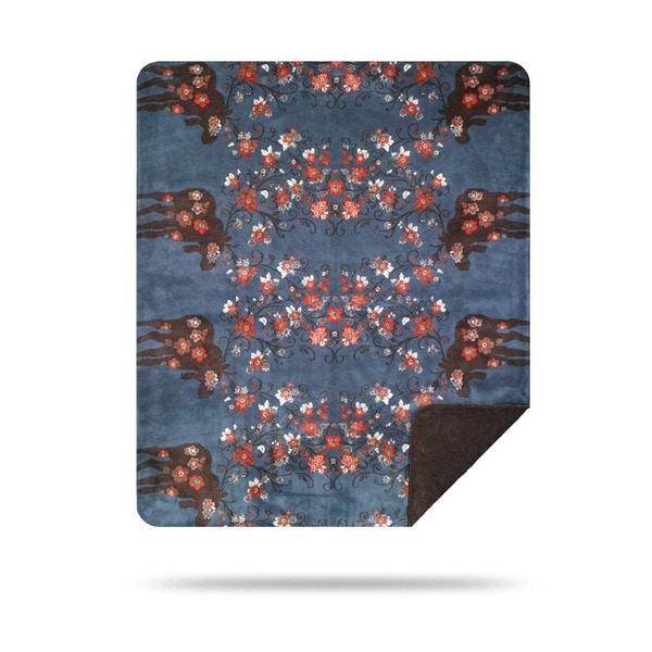 Denali Moose Blossom Blue/Taupe Blanket - N/A - 60x50