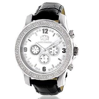 Luxurman Men's 1/4ct White Mother of Pearl Dial Diamond Watch