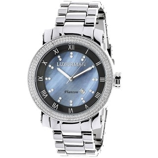 Luxurman Men's Diamond Blue Mother of Pearl Watch with Metal Band and Extra Leather Straps