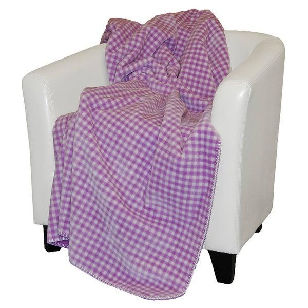Denali Light Lilac Gingham Throw Blanket60X70 microplush throw