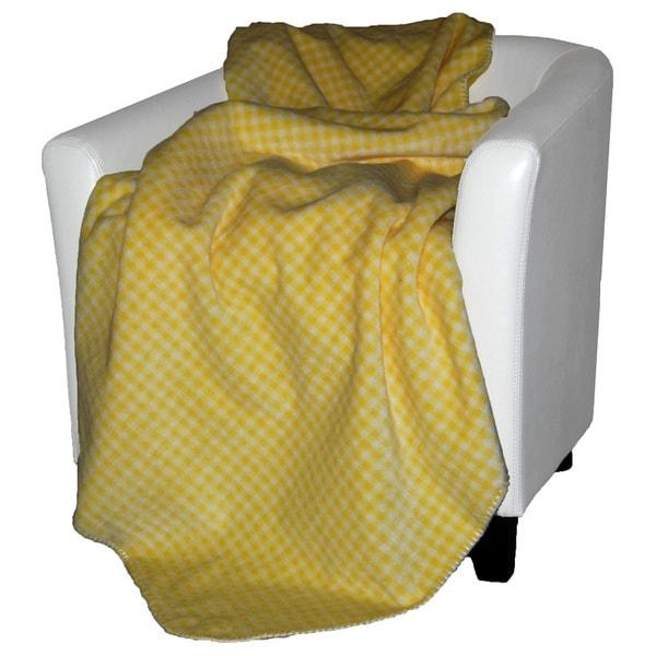 Denali Light Yellow Gingham Throw Blanket
