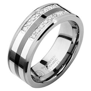 Men S Tungsten Ceramic And Steel 1 5ct Tdw Diamond Wedding Band White