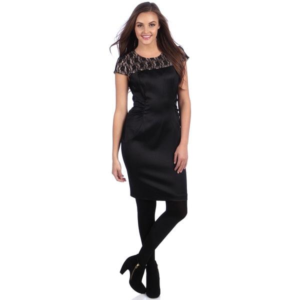 Shop London Times Women S Black Lace Yoke Sheath Dress