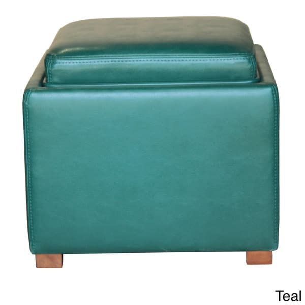 Bonded Leather Contemporary Flip Seat Storage Ottoman Cube