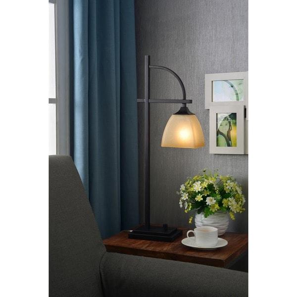 Copper Grove Loa Colmar Square Glass Shade Bronze Finish 1-light Table Lamp