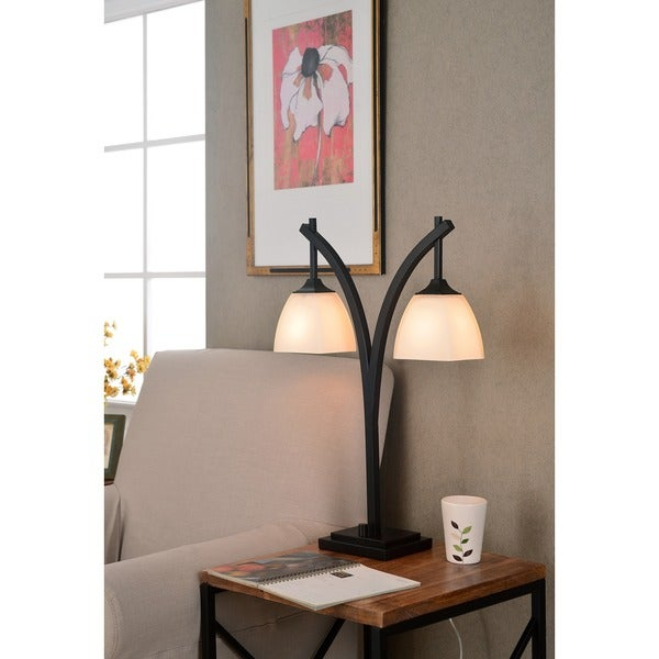 turin suspended glass shades bronze finish modern 2 light table lamp. Black Bedroom Furniture Sets. Home Design Ideas