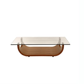 Walnut Boat-Shaped Side Table with Clear Glass Top
