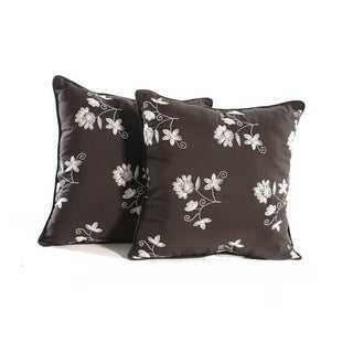 Embroidered Espresso Beige Flowers Pillows (Set of 2)
