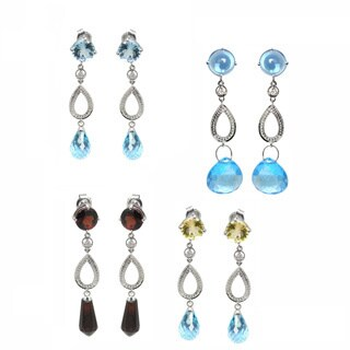 De Buman 10k White Gold Sky Blue Topaz, Citrine, Swiss Blue Topaz or Garnet Gemstone with Diamond Earrings (H-I, SI3)