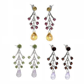 De Buman 10k White Gold Garnet, Peridot or Citrine Gemstone with Diamond Earrings (H-I, SI3)