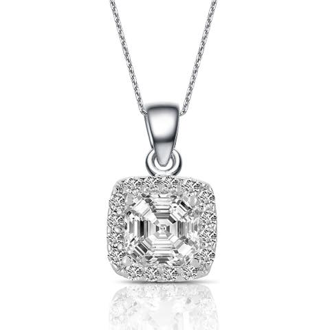 Collette Z Sterling Silver Cubic Zirconia Square Necklace