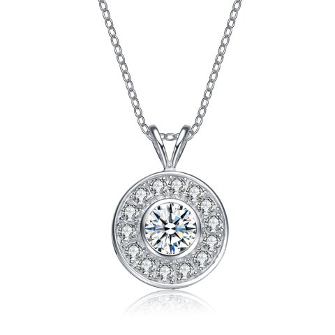 Collette Z Sterling Silver Cubic Zirconia Round Necklace