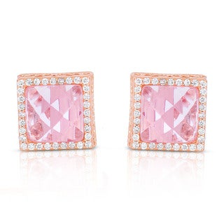 Collette Z Sterling Silver Pink Cubic Zirconia Rose Plated Square Earrings