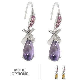 De Buman 10k White Gold Genuine Citrine or Amethyst Gemstone with Diamond Earrings (H-I, SI3)