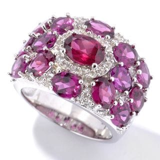 Sterling Silver Rhodolite Garnet and White Topaz Ring